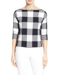 Nordstrom Collection | Blue Bateau Neck Gingham Sweater | Lyst