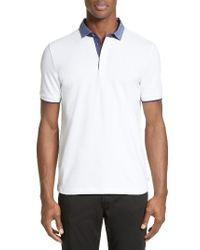 Armani | White Stretch Cotton Polo for Men | Lyst