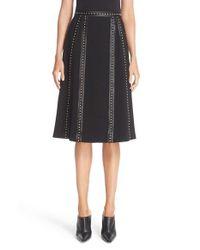 Altuzarra - Black Steele Studded Leather Trim Skirt - Lyst