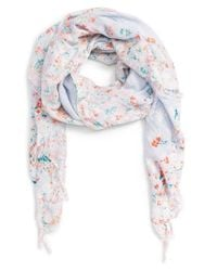 Hinge | Blue Feathering Floral Scarf | Lyst