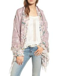 Hinge | Purple Feathering Floral Scarf | Lyst