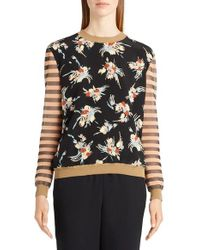 Marni | Black Stripe & Floral Print Sweater | Lyst
