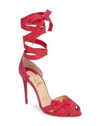 Christian Louboutin | Pink Christeriva Ribbon Sandal | Lyst