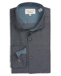 Ted Baker   Black Kian Trim Fit Geometric Dress Shirt for Men   Lyst