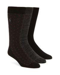 Polo Ralph Lauren | Supersoft Diamond Dot Assorted 3-pack Socks, Black for Men | Lyst