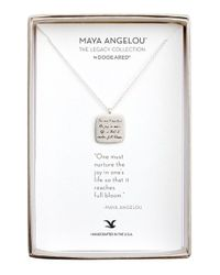 Dogeared | Metallic 'legacy Collection - One Must Nurture The Joy' Pendant Necklace | Lyst