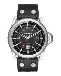 DIESEL | Black Diesel Rollcage Leather Strap Watch for Men | Lyst