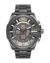 DIESEL | Metallic Diesel Mega Chief Chronograph Bracelet Watch for Men | Lyst