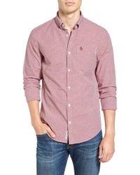 Original Penguin - Pink Mini Gingham Long Sleeved Shirt for Men - Lyst