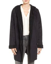 RACHEL Rachel Roy | Black Rachel Roy Hooded Faux Shearling Coat | Lyst