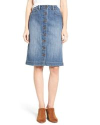 Hinge - Blue Button Front Denim Midi Skirt - Lyst