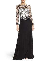 Tadashi Shoji | Black Embroidered Lace & Crepe Gown | Lyst