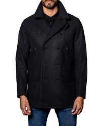 Jared Lang | Blue Wool Blend Double Breasted Peacoat for Men | Lyst