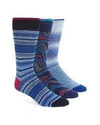 Bugatchi | Assorted 3-pack Mercerized Cotton Blend Socks, Blue for Men | Lyst