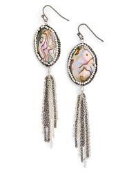 Panacea | Multicolor Abalone Tassel Drop Earrings | Lyst