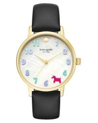Kate Spade - Metallic Metro Balloon Leather Strap Watch - Lyst