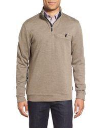 Ted Baker | Brown Funnel Neck Quarter Zip Pullover for Men | Lyst