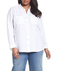 Caslon - White Caslon Long Sleeve Crinkle Cotton Shirt - Lyst