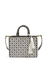 Tory Burch | Black Small Robinson Woven Leather Tote | Lyst