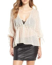 For Love & Lemons - Natural Truffles Polka Dot Blouse - Lyst