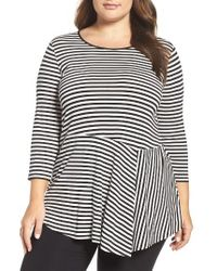 Vince Camuto | Black Duo Stripe Asymmetrical Panel Hem Top | Lyst