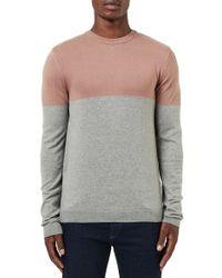 Topman | Gray Colorblock Crewneck Sweater for Men | Lyst
