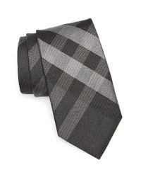 Burberry | Gray Clinton Check Silk Tie for Men | Lyst