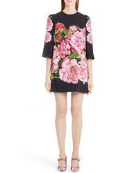 Dolce & Gabbana | Pink Rose Print Cady Shift Dress | Lyst