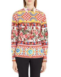 Dolce & Gabbana - Red Print Poplin Shirt - Lyst