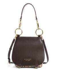 Burberry - Brown Runway Bridle Haymarket Check Leather & Textile Satchel - Lyst