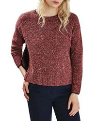 TOPSHOP - Red Marled Sweater - Lyst