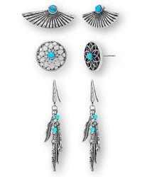Steve Madden | Metallic 3-pack Earrings | Lyst