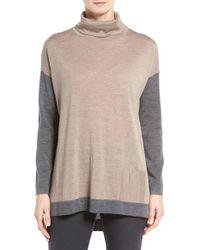 Eileen Fisher | Natural Fine Merino Jersey Turtleneck Sweater | Lyst