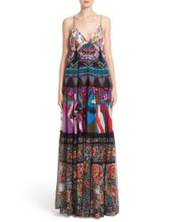 Roberto Cavalli | Multicolor Print Silk Maxi Dress | Lyst