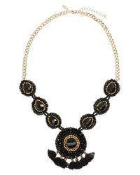 Panacea - Black Beaded Tassel Necklace - Lyst