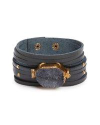Panacea | Black Drusy Stone Cuff | Lyst
