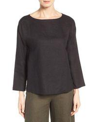 Eileen Fisher   Black Organic Handkerchief Linen Top   Lyst