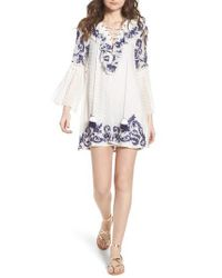 MISA White Cyrielle Embroidered Dress