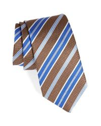 David Donahue | Brown Stripe Silk Tie for Men | Lyst