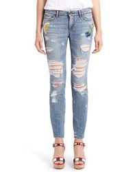 Dolce & Gabbana | Blue Embellished Skinny Jeans | Lyst