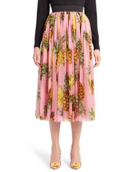 Dolce & Gabbana | Multicolor Pineapple Print Pleated Midi Skirt | Lyst