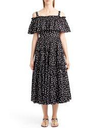 Dolce & Gabbana   Black Polka Dot Cold Shoulder Dress   Lyst