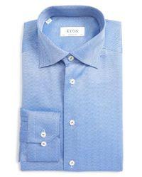 Eton of Sweden - Blue Contemporary Fit Herringbone Dress Shirt for Men - Lyst