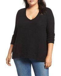 Three Dots - Black V-neck Sweater - Lyst