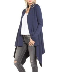 Love By Design   Blue Two-tone Open Front Cardigan   Lyst