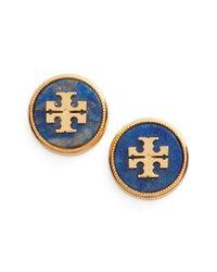 Tory Burch | Blue Semiprecious Stone Stud Earrings | Lyst