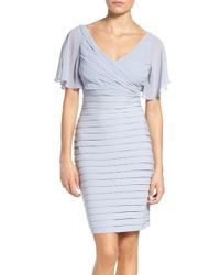 Adrianna Papell | Blue Pleated Sheath Dress | Lyst
