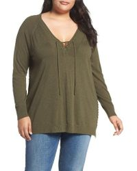 Lucky Brand | Green Lace-up Sweater | Lyst