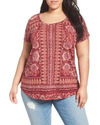Lucky Brand | Red Border Floral Tee | Lyst