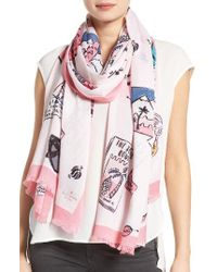 kate spade new york | Pink Travel Scrapbook Scarf | Lyst